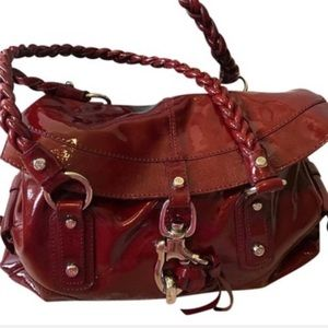 Deep red patent leather satchel w/braided straps